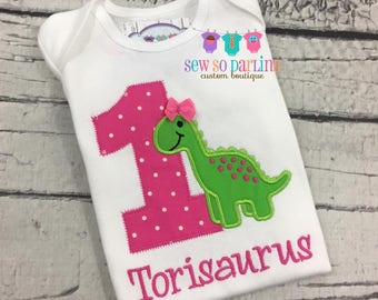 Dinosaur Birthday Shirt - Baby Girl Dinosaur Birthday Outfit - 1st Birthday Dinosaur Shirt  - Birthday shirt - Girl Dinosaur Birthday Shirt