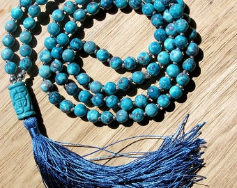 Mala Necklace - 108 Mala Beads Necklace with Silk Tassel - Blue Sea Sediment Jasper