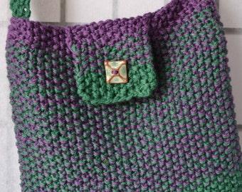 HandKnittedBag, PurpleGreenShoulderBag, WomansPurse, GiftForHer, SeedStitchBag