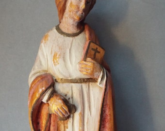hand carved wood religious statue figurine St. Susanna of Rome  virginity made in  Italy figurine