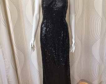 Vintage Adriana Pappell Black Sequin Dress size 12