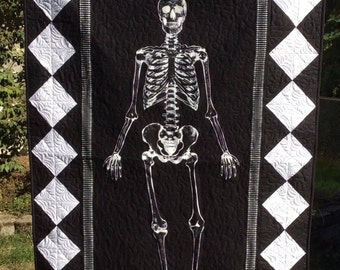 Halloween wall hanging, Halloween quilt, skeleton, trick or treat, glow in the dark.