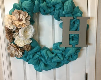 Teal Initial Wreath