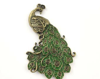 1 Peafowl pendant bronze tone  and green enamel, 60mm # PEN 106