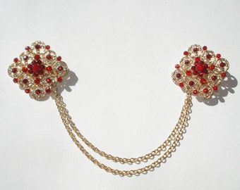 Red and Gold Sweater Guard - Vintage style - Cardigan Chain - Costume Jewelry Square Brooches