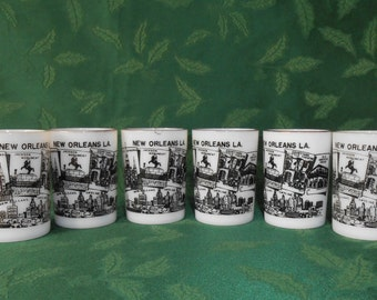 "Marked Hazel Atlas Opal "" New Orleans "" Juice - Souvenir Glasses"