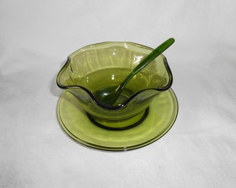 Indiana Glass Mayonnaise Set in Green