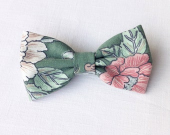 Floral bow tie. Green bow tie. Faded raspberry floral bow tie. Cream floral necktie. Men's floral bow tie. Wedding bow tie