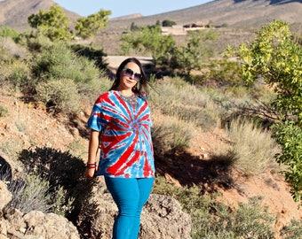 Tie Dye T-Shirt, Trippy Patriotic Top, America Plus Size Hippie Fashion USA