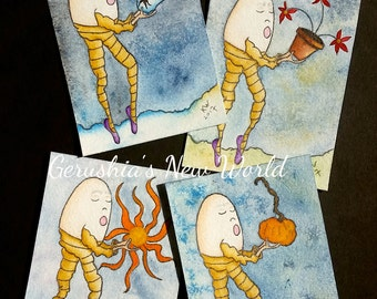 Humpty's Seasons (Winter, Spring, Summer, Fall) - ACEO, 4 Print Set, Salted Watercolor, Fairy Tale Art, Art Cards