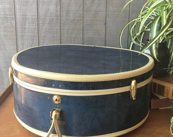 Vintage Navy Blue Marbled, Samsonite Round Suitcase, Hatbox Luggage, Train Case