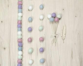 Pink Purple White Mint Felt Ball Garland, Felt Pom Flowers, Modern Girl Nursery, Baby Girl Shower Gift, Pink Mint Party Decor, Girl Birthday