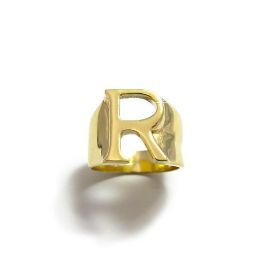 B Letter In Gold Ring Initial Gold Ring Gold...
