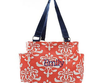 Personalized Damask Caddy Coral Organizing Utility Tote Bag Monogrammed Zip Top Pocket Beach Diaper Craft Embroidered