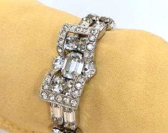 Vintage EISENBERG Rhinestone Bracelet Wedding Bridal Clear Crystal Bracelet 1950s Designer Signed Estate Jewelry Bridesmaid Gift For Her