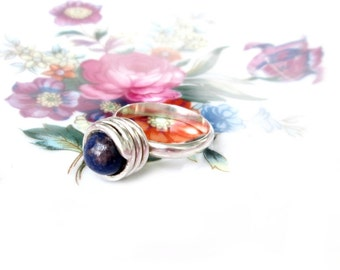 Ring, 925 Silver with Sodalite Gr. 58 sterling silver ring Sodalite US size 8.4 UK size Q 1/2