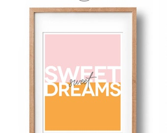 Sweet Dreams Colour Block Nursery Print | Nursery Wall Decor | Art for Girls | Art For Boys | Printable Newborn baby gift | INSTANT DOWNLOAD