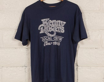 80s Vintage Kenny Rogers Local Crew Concert Tour T Shirt Size XL 1985 Band Country Music