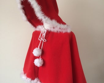 Red Hooded Cape, Santa Claus Clothing, Women Red Cape, Fleece Cozy Capelet, Fur Trim Hooded Cape, Pompom Hoodie, Red Riding Hooded Cape