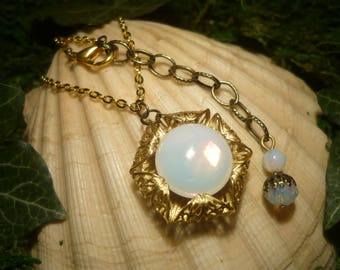 Moonlight Flower - handmade Necklace with faux Opals - Doublesided!