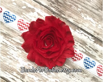 SALE Patriotic Red Flower Heart Headband, Baby Headband, Toddler Hair Piece, 4th of July Accessory, Girls Hair Bow, Elastic Headband
