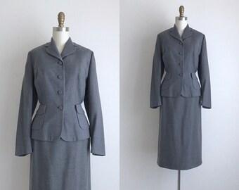 """1950s Suit / Vintage 1950s Skirt Suit / Grey Wool Skirt Suit 27.5"""" Waist"""