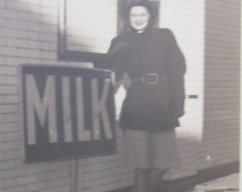 Got Milk? - 1940's Pretty Woman Poses With Milk Sign Snapshot Photo - Free Shipping