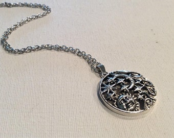 Sun moon stars necklace Antique silver