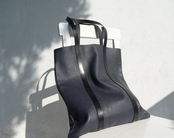 Navy Blue Leather Tote Bag/Sample Sale/Large Tote/Navy Leather Shoulder Bag/Ready to ship