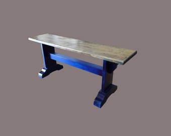 Rustic Western Solid Wood San Gregorio Bench Blue