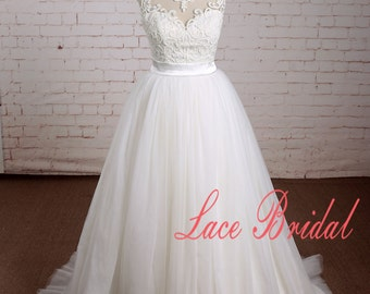 Bateau Neckline Wedding Dress with Tulle Skirt A Line Wedding Dress with Sheer Back