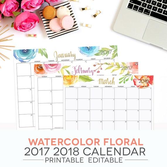printable month calendar 2018