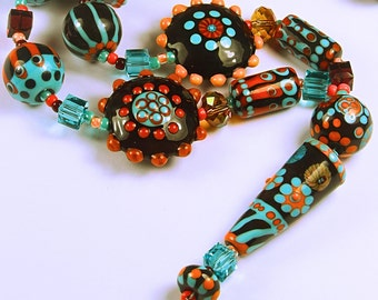 folk art   handmade art glass lampwork bead necklace