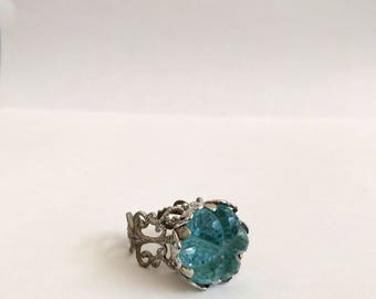 Vintage 70s ring Sarah Coventry light blue lace filigree Victorian silver tone large round Stone aqua marine March birthstone lolita