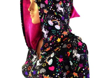Unicorns and Rainbows Zipper Front Half Sleeve Crop Hoodie with Neon Pink Holographic Spikes & Hood Liner 154060
