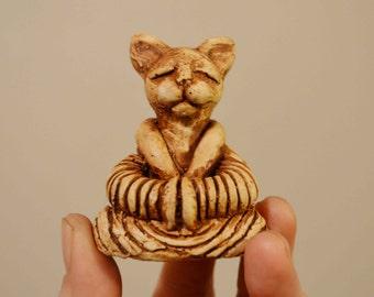 Buddha Cat Sculpture, Meditating, Buddha Figurine, Meditating Cat, Buddha Kitty, Zen Sculpture, Zen Garden Sculpture