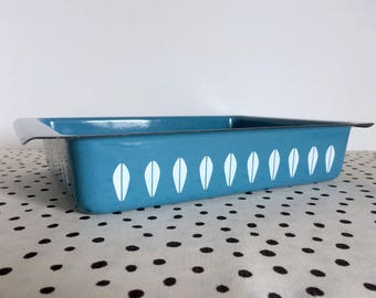 Vintage Cathrineholm Lasagna Pan, Cathrineholm Lotus Pan, Lotus Lasagna Pan, Catherineholm Blue Lotus, Cathrineholm Pan, Lotus Leaf Pan MCM