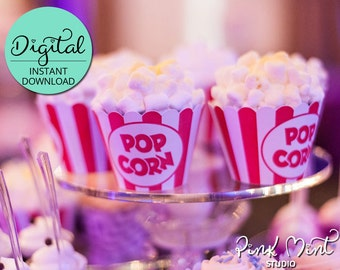 Popcorn Cupcake Wrappers, Circus Birthday, Carnival Birthday, Cupcake Decorations, Popcorn Box, Movie Night, Cinema, INSTANT DOWNLOAD #5423