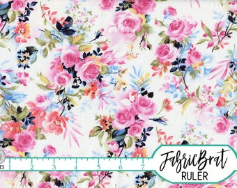 WATERCOLOR FLORAL Fabric By The Yard Fat Quarter Navy Blue Pink Roses Shabby Chic 100 Cotton Quilt T1 10