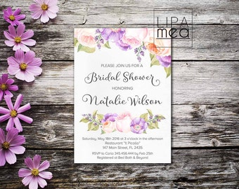 Boho Bridal Shower Invitation, Floral Bridal Shower Invitation, Peach Lilac Bridal Shower Invitation, Printable Bridal Invitation Bohemian