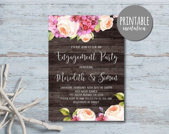 Floral Engagement Invitation, Engagement Party Invitation Printable, Spring Summer Rustic Engagement Invitation, Couples Shower Invitation