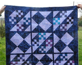 Patchwork quilt, patchwork blanket, patchwork throw, throw quilt, quilt cover, homemade quilts, purple fabric, throw blanket, sofa throws,