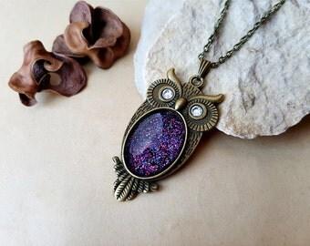 Owl Necklace, owl choker, owl lover gift idea, owl jewelry, layering necklace, wise owl, Pisces, Aquarius, Sagittarius, Scorpio, Nebula