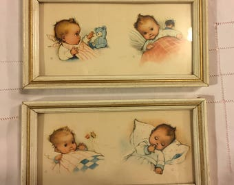 Two Darling vintage framed baby pictures