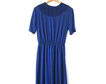 Wms Vintage 1980s Blue LADY BLAIR Maxi Dress Sz 14