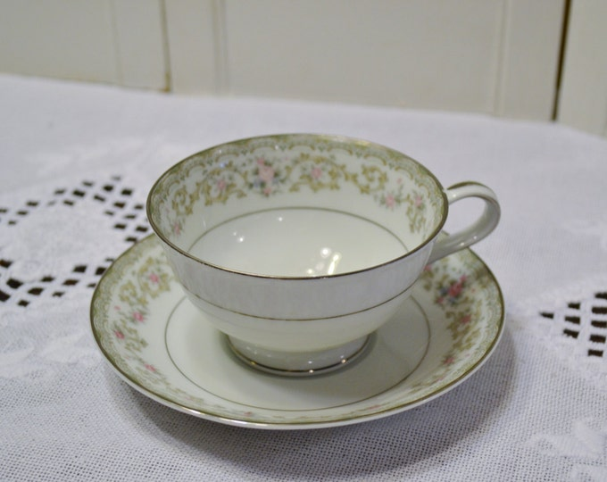Vintage Noritake Edgewood Cup and Saucer 5807 Floral and Scroll Replacement Made in Japan Bridal Baby Shower PanchosPorch
