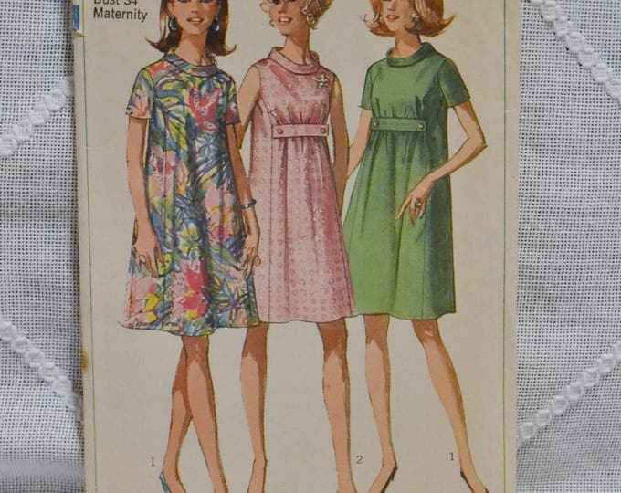 Vintage Simplicity 7558 Sewing Pattern Misses Maternity Dress Size 12 Crafts  DIY Sewing Crafts PanchosPorch