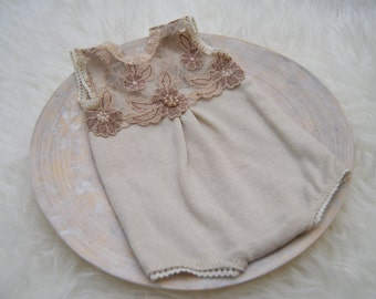 Newborn Prop, Newborn Romper, Newborn Bloomers, Lace Romper, Baby Props, Newborn Photo Prop, Baby Girl Outfit, Photography Prop, Neutral