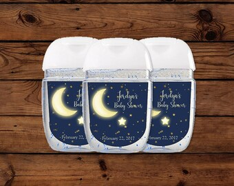 Moon And Stars Hand Sanitizer Labels, Moon And Stars Baby Shower Favors,  Stars Baby