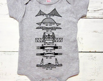 Portland Bridges bodysuit. Portland baby one piece. American made. Oregon baby. Hand drawn.